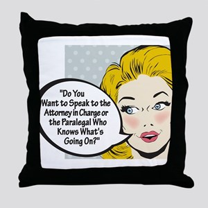 Paralegal In Charge [Toon Edi Throw Pillow